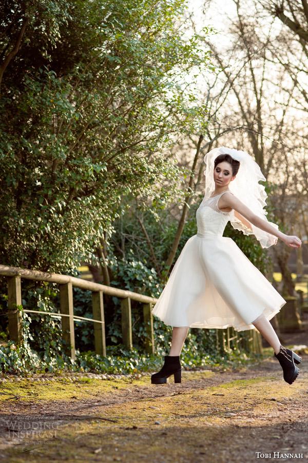 tobi hannah bridal 2015 affection sleeveless short wedding dress jump shoot