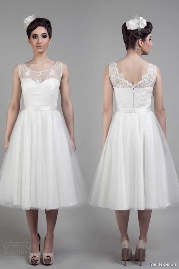 tobi hannah bridal 2015 short wedding dress affection illusion neckline