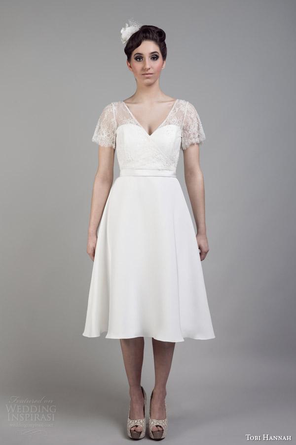 tobi hannah bridal 2015 short wedding dress illusion neckline lace sleeves dare