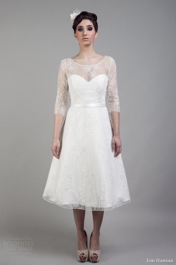 tobi hannah bridal 2015 short wedding dress lace sleeves neckline wonder