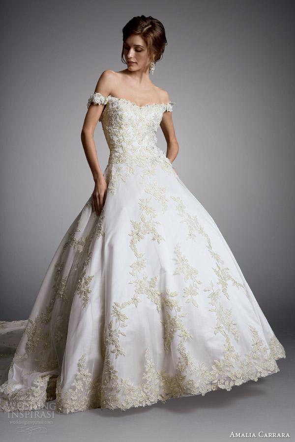 Amalia carrara 2014 off bola ombro do vestido de casamento vestido estilo 327