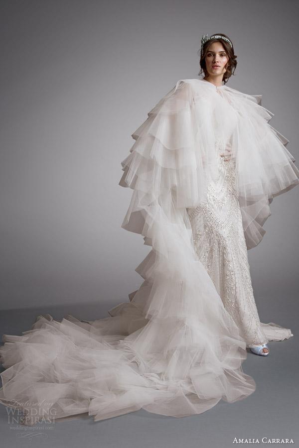 Amalia carrara bridal 2014 sem mangas estilo do vestido de casamento frisado 333 chão comprimento de cabo