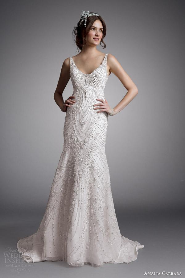 Amalia carrara bridal 2014 sem mangas casamento frisado vestido estilo 333