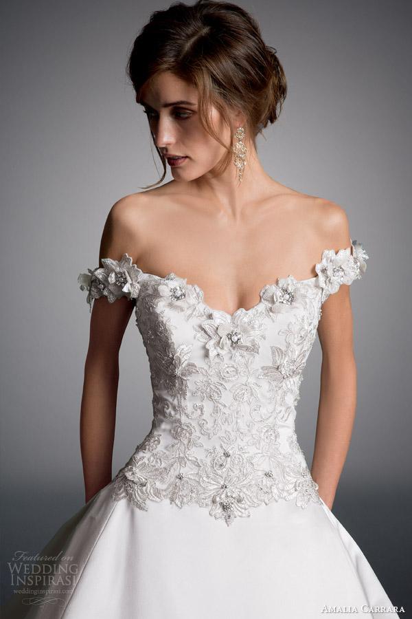 Amalia carrara véspera da milady 2014 off bola ombro do vestido de casamento vestido estilo 328 close up