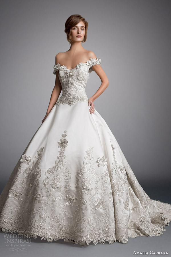 Amalia carrara véspera da milady 2014 off bola ombro do vestido de casamento vestido estilo 328