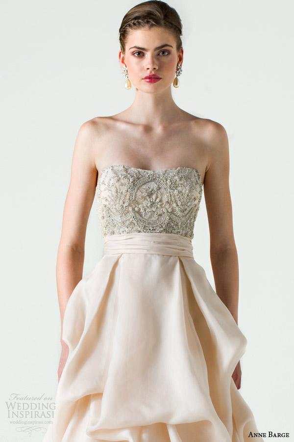 anne barge bridal spring 2015 cherish strapless wedding dress beaded bodice pickup skirt close up