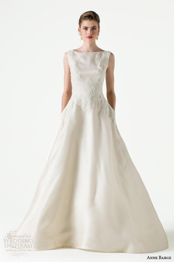 anne barge bridal spring 2015 devoted bateau neckline sleeveless wedding dress alencon lace