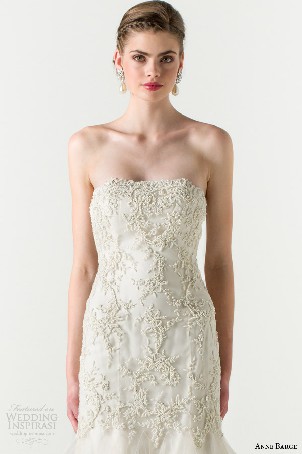 anne barge bridal spring 2015 divine fit and flare wedding dress beaded bodice close up