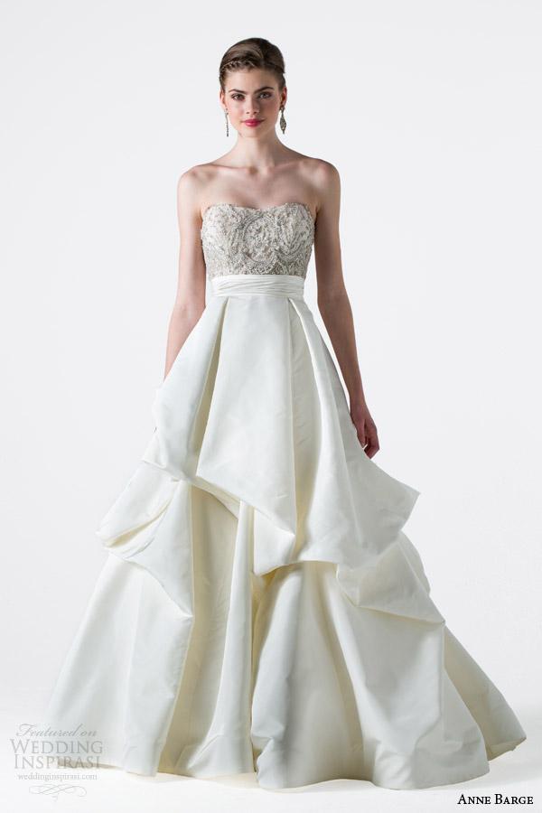 anne barge bridal spring 2015 enchanted strapless wedding dress pick up skirt