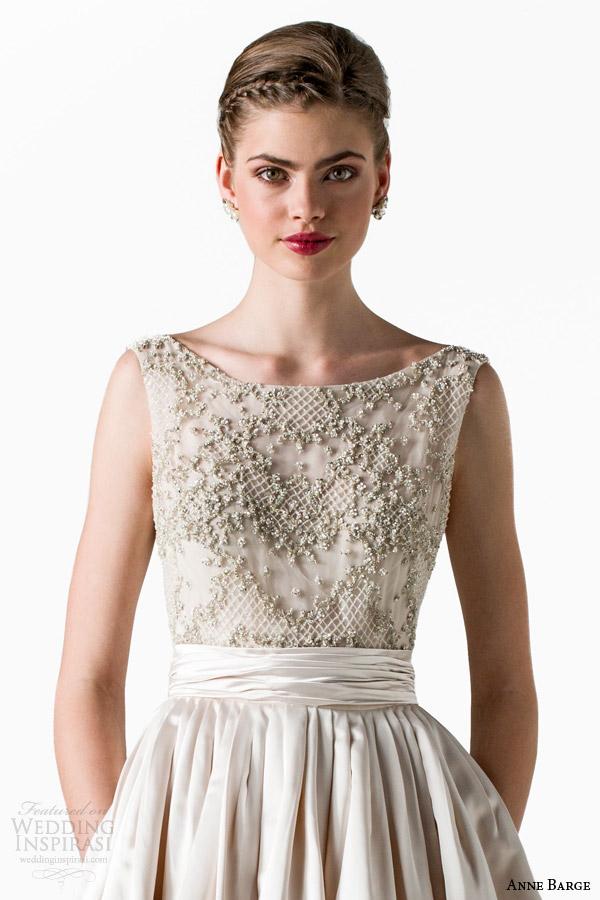 anne barge bridal spring 2015 star bateau neckline sleeveless ball gown wedding dress beaded bodice close up