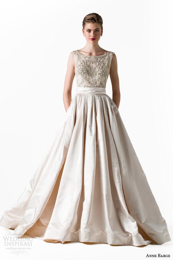 anne barge bridal spring 2015 star bateau neckline sleeveless ball gown wedding dress beaded bodice