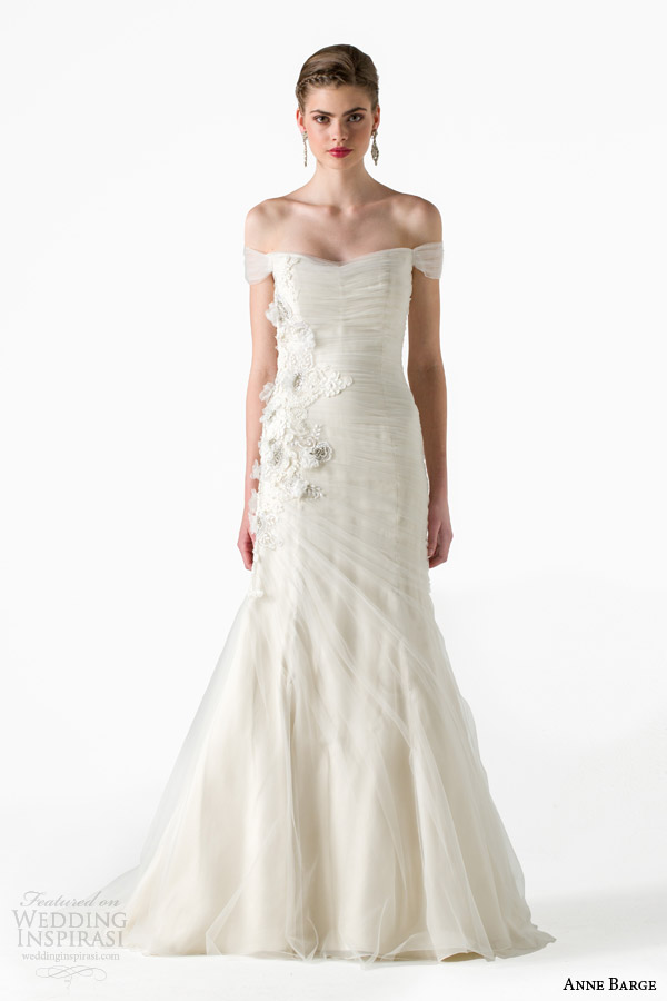 anne barge bridal spring 2015 whisper draped tulle mermaid wedding dress off shoulder sleeves