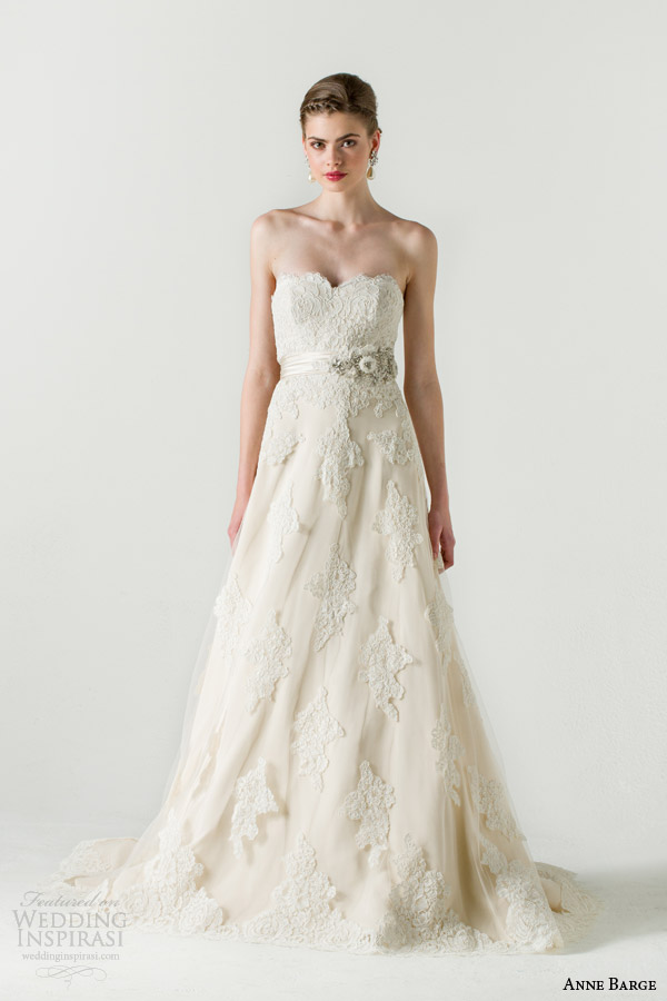 anne barge spring 2015 bethrothed strapless alencon lace wedding dress
