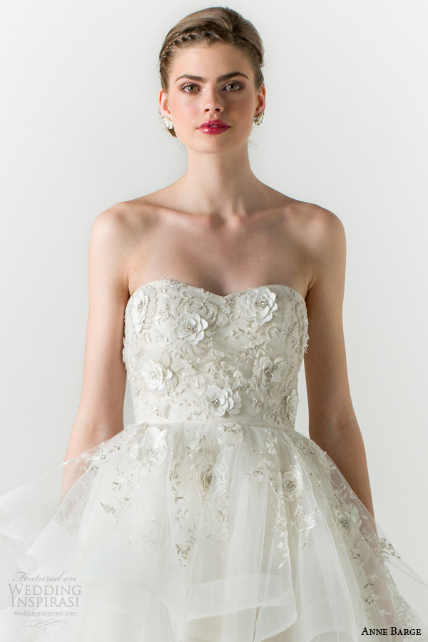 anne barge spring 2015 charmed strapless ball gown wedding dress tiered skirt close up