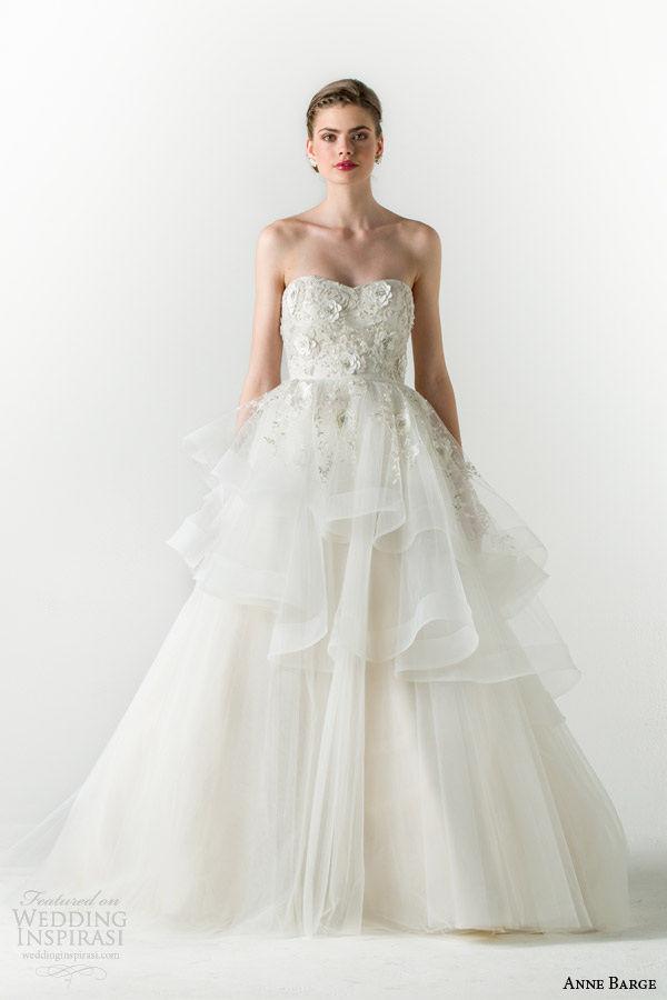 anne barge spring 2015 charmed strapless ball gown wedding dress tiered skirt