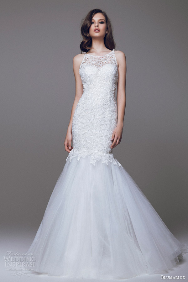 blumarine 2015 bridal sleeveless lace mermaid wedding dress