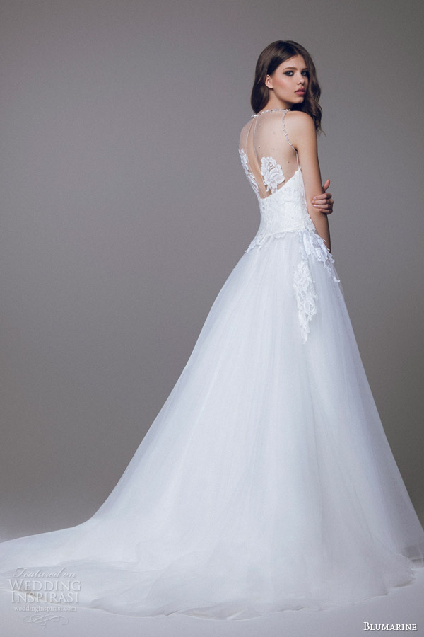 blumarine 2015 bridal sleeveless wedding dress illusion neckline back view train