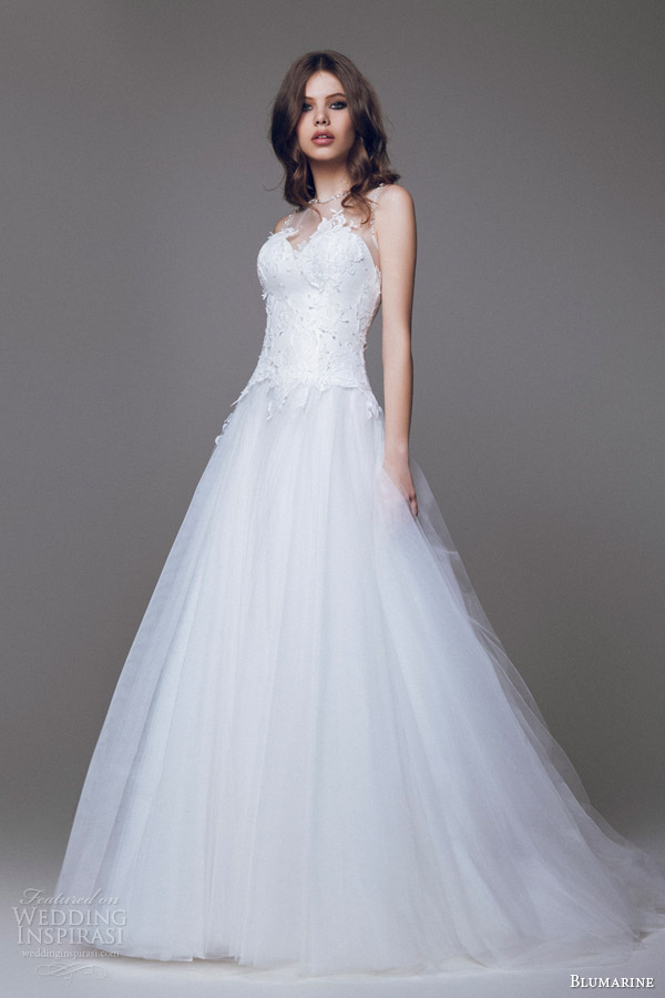 blumarine 2015 bridal sleeveless wedding dress illusion neckline