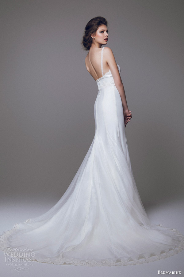 blumarine 2015 bridal wedding dress with straps bow at empire waist back view