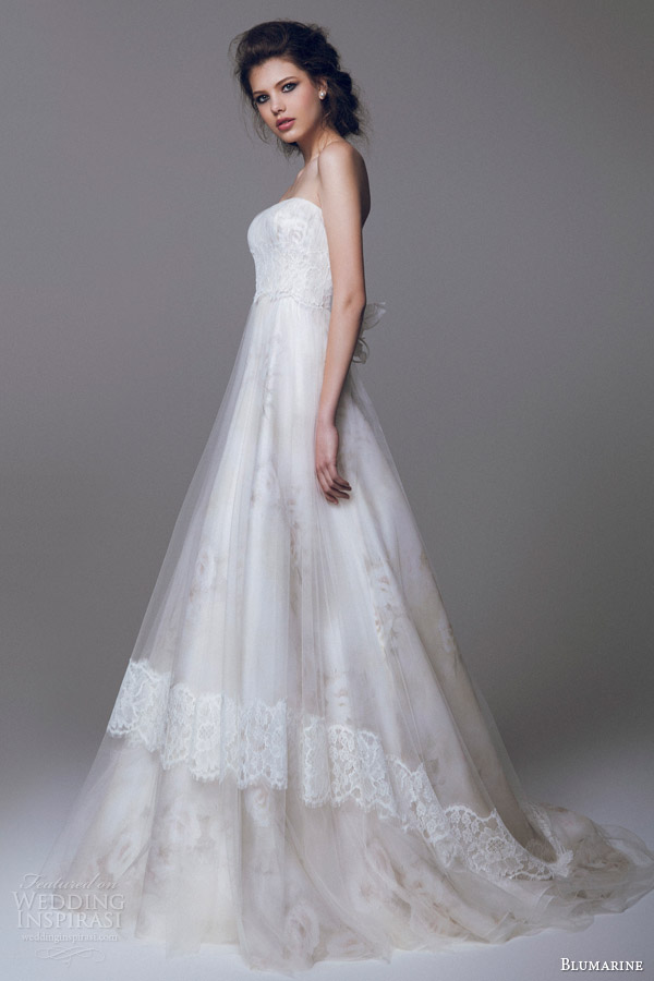 blumarine 2015 romantic wedding dress watercolor effect tulle overlay