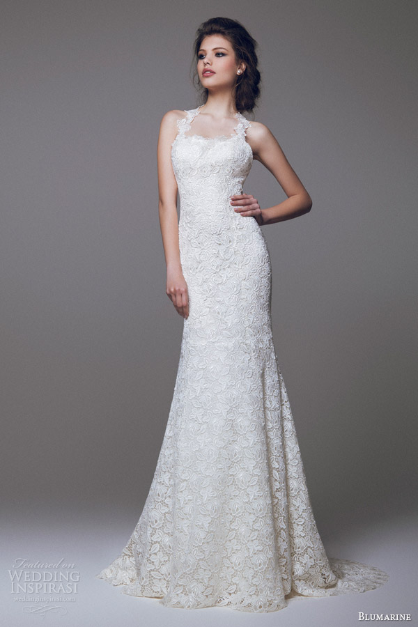 blumarine bridal 2015 sleeveless lace sheath wedding dress