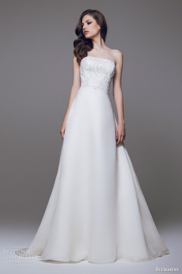 blumarine bridal 2015 strapless wedding dress beaded bodice