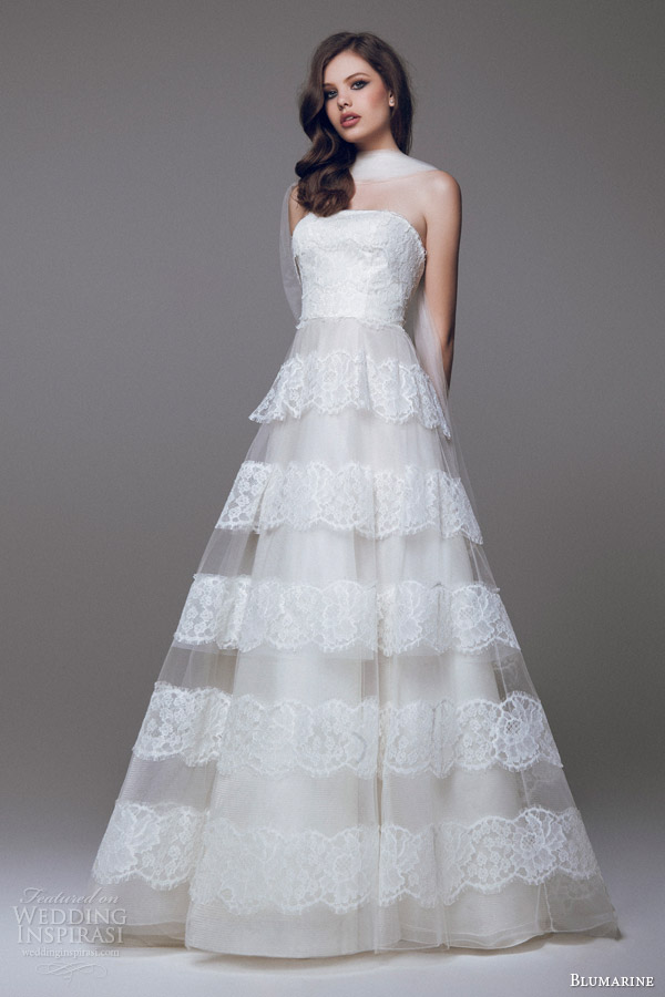 blumarine sposa 2015 a line wedding dress lace skirt