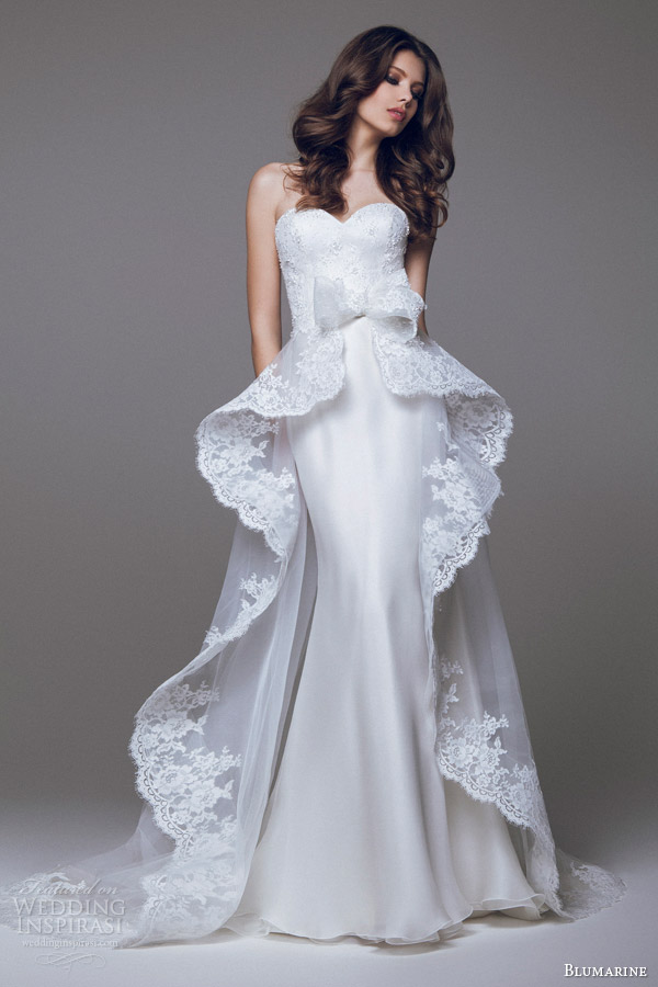 blumarine sposa 2015 wedding dress lace peplum overskirt