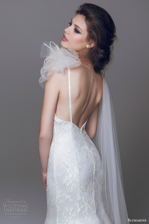 blumarine wedding dresses 2015 lace trumpet mermaid gown with straps close up back view