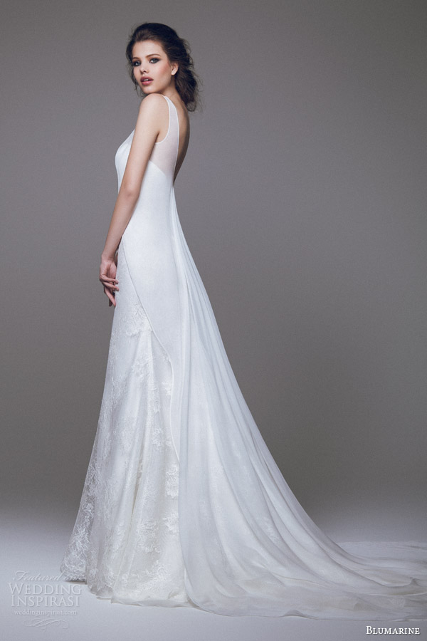 blumarine wedding dresses 2015 strapless lace gown with sleeveless high to low overlay side view