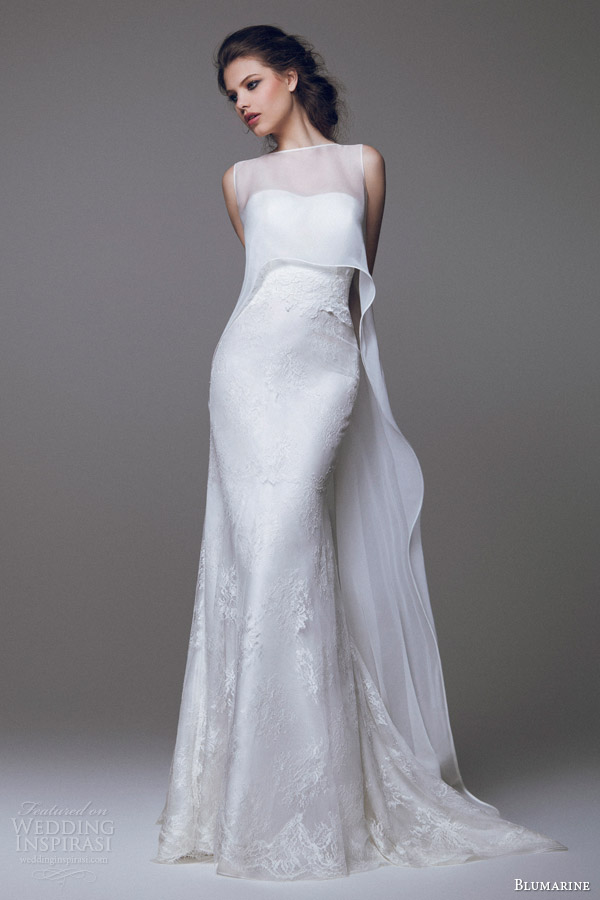 blumarine wedding dresses 2015 strapless lace gown with sleeveless high to low overlay