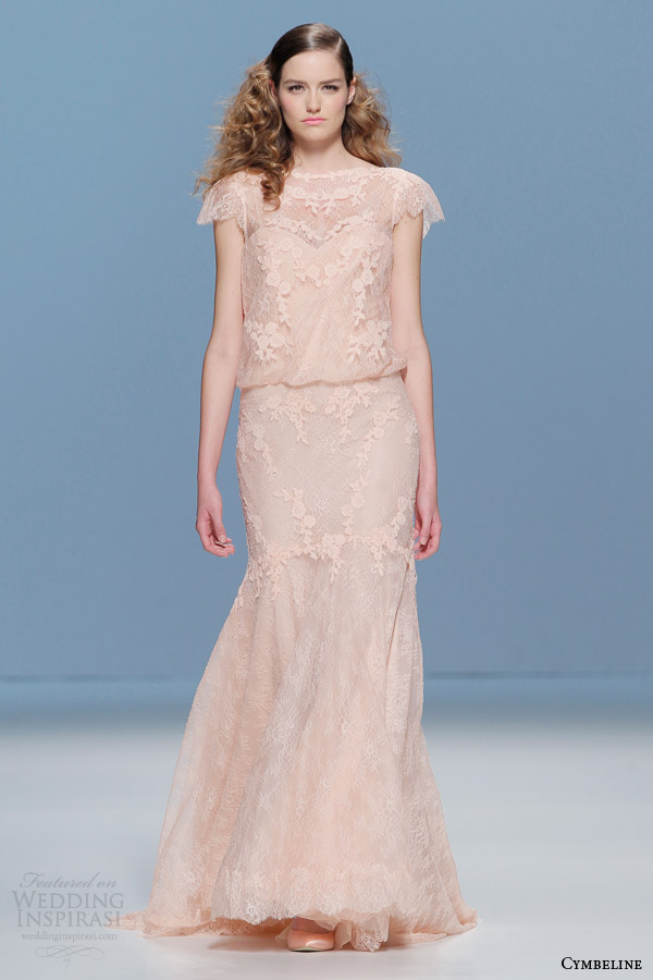 cymbeline 2015 bridall peach lace wedding dress cap sleeves