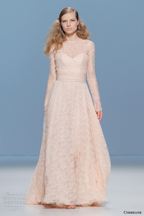 cymbeline 2015 bridall peach lace wedding dress illusion long sleeves