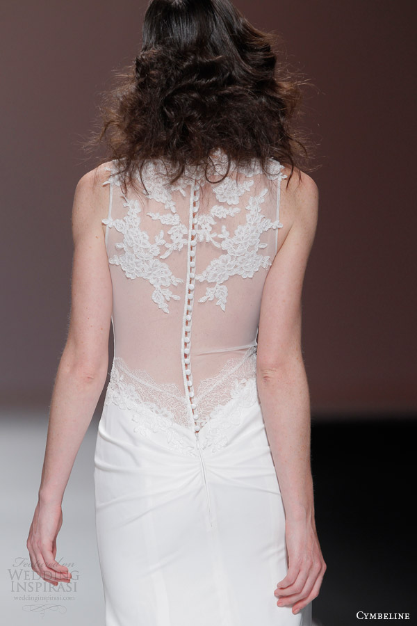 cymbeline 2015 sleeveless v neck wedding dress sheer back view