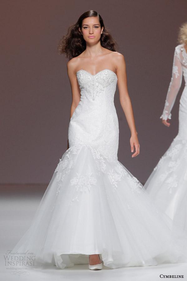 cymbeline 2015 strapless mermaid fit flare wedding dress beaded bodice
