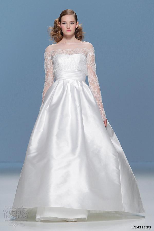 cymbeline bridal 2015 illusion long sleeve ball gown wedding dress