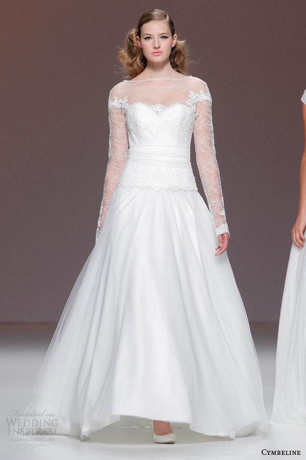 cymbeline bridal 2015 long sleeve wedding dress illusion neckline