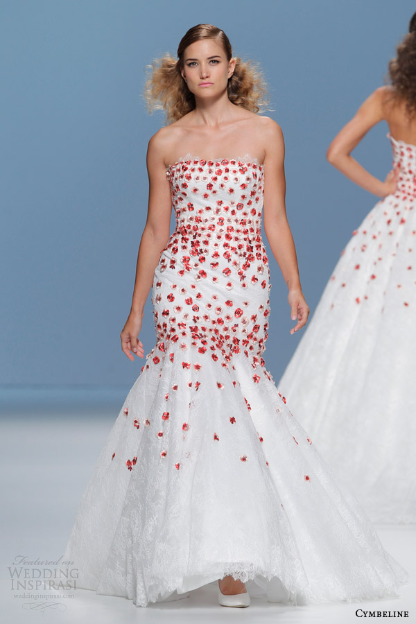 cymbeline bridal 2015 strapless mermaid gown red petals wedding dress