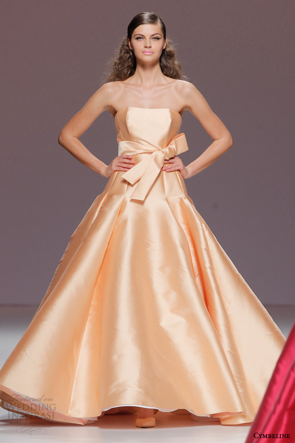 cymbeline bridal 2015 strapless peach orange colored wedding dress
