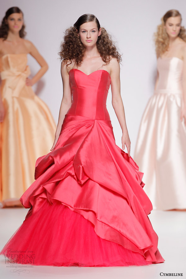 cymbeline bridal 2015 strapless raspberry color wedding dress