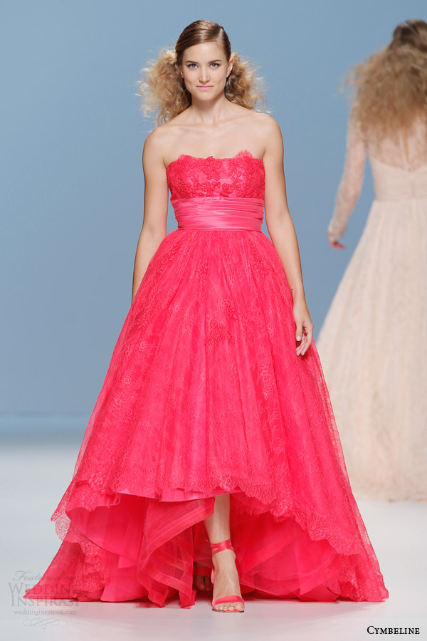 cymbeline bridal 2015 strapless raspberry colored wedding dress