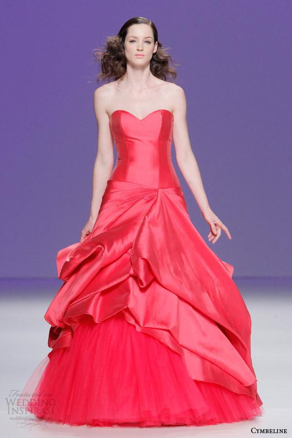 cymbeline bridal 2015 strapless raspberry red color wedding dress