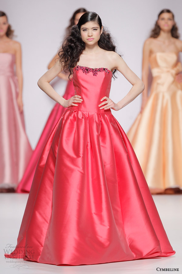 cymbeline bridal 2015 strapless raspberry red colored wedding dress embellished neckline