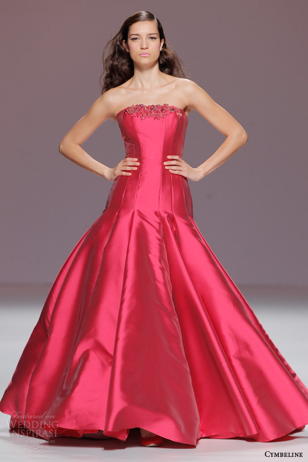 cymbeline bridal 2015 strapless raspberry red colored wedding dress