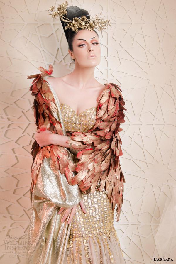 dar sara haute couture 2014 2015 metallic gold mermaid dress floor length feather cape close up