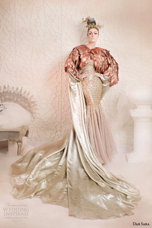 dar sara haute couture 2014 2015 metallic gold mermaid dress floor length feather cape - Mermaid Wedding Dresses