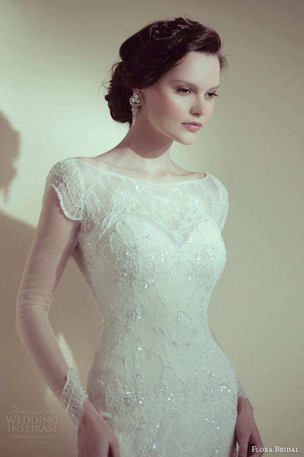 flora bridal 2014 grace beaded illusion long sleeve sheath wedding dress