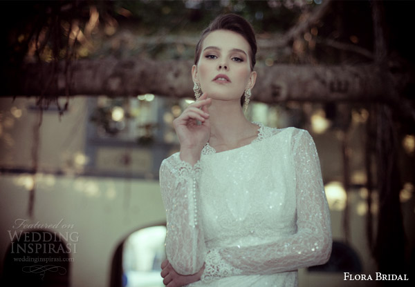 flora bridal 2014 helena sleeveless sheath wedding dress long sleeve lace top