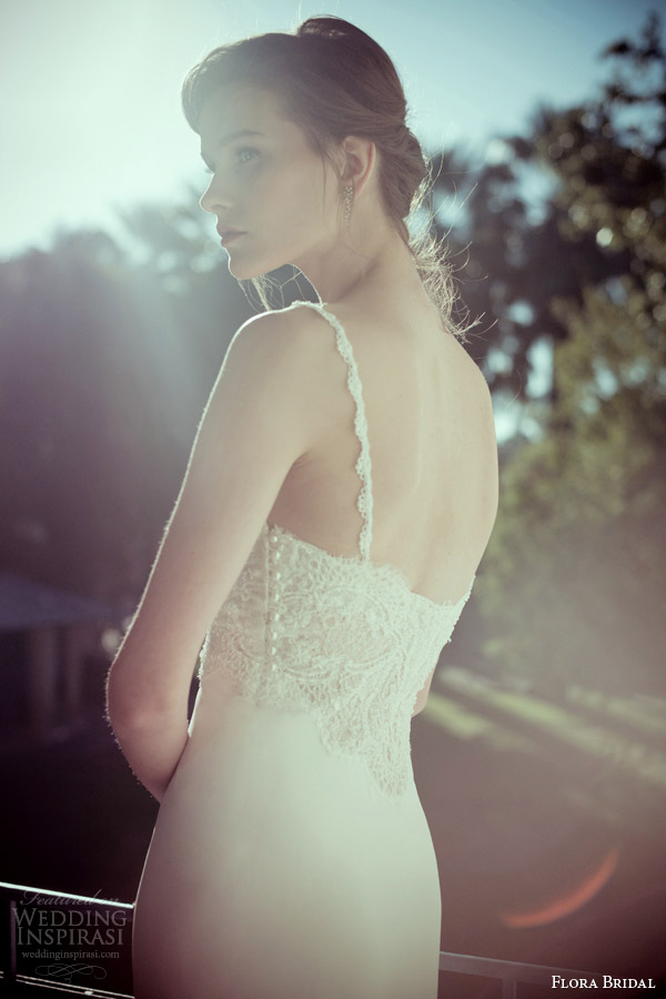 flora bridal 2014 magda sleeveless lace bodice wedding dress back view