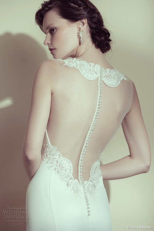 flora bridal 2014 monique sleeveless illusion wedding dress back view buttons